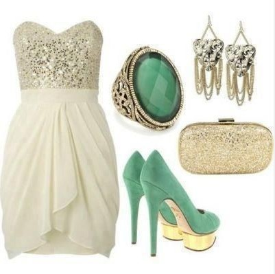 Formal Outfit, Strapless Cocktail Dress, Green Pumps