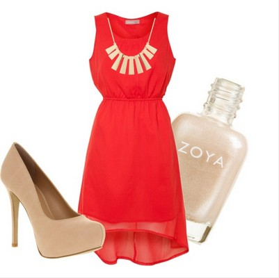 Formal Outfit, red cocktaildress, nude shoes, gold jewelry, nude nails