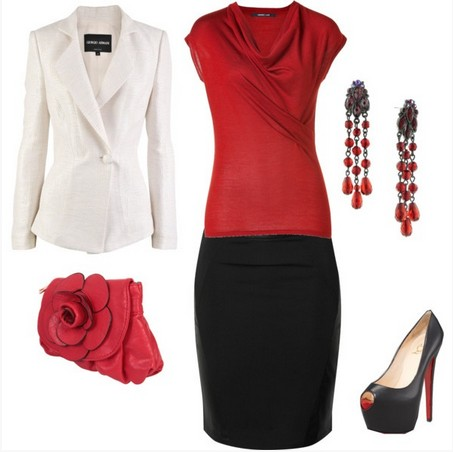 Formal outfit, black pencil skirt and red knit top