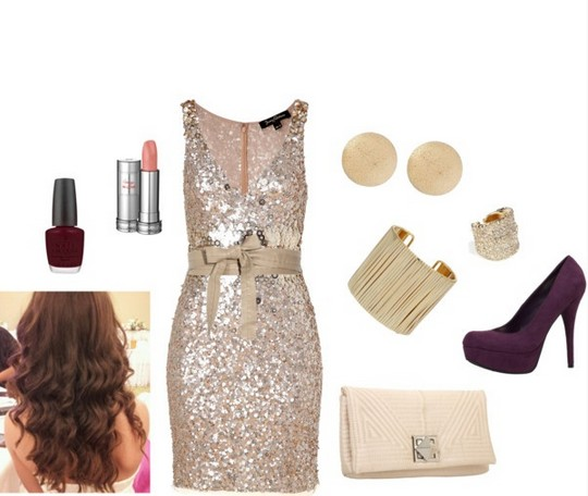 Formal outfit idea for a night out, the sequined cocktail dress