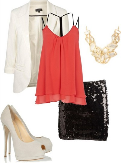 Formal outfit, orange tank top and flashy black pencil skirt