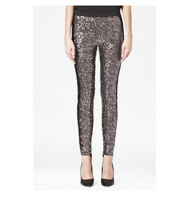 French Connection Tuxedo Sequinned Leggings, Grey