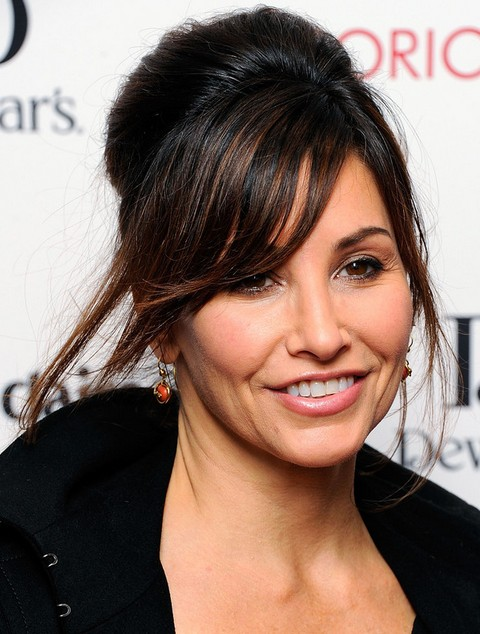 Gina Gershon Hairstyles: French Twist with Bangs