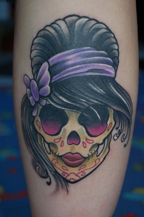 Girly Sugar Skull done in Black pearl tattoo studio