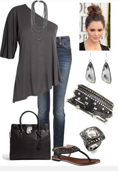 Grey One-shoulder Top Outfit for Daily Look