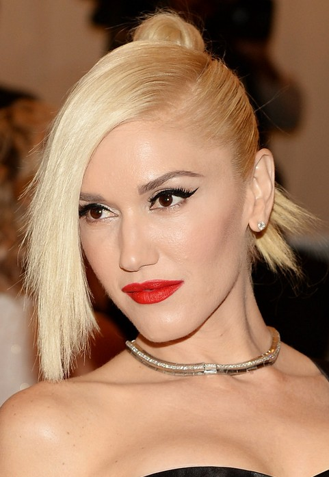 Gwen Stefani Long Hairstyle: Knot with Side-swept Bangs