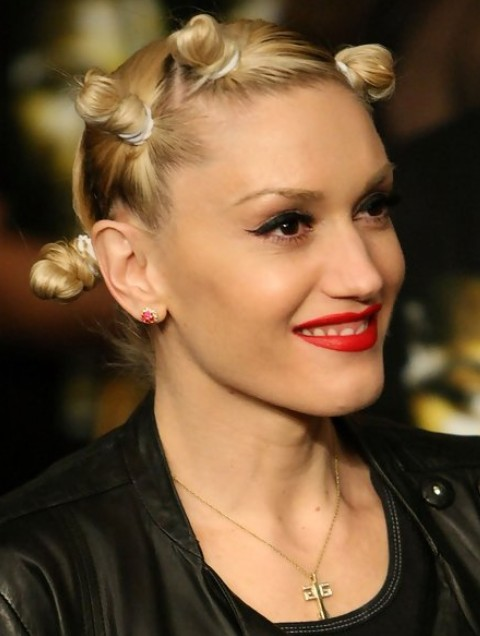 Gwen Stefani Long Hairstyle: Little Buns