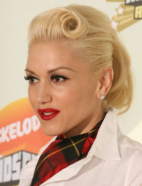 Gwen Stefani Long Hairstyle: Ponytail with Twisted Bangs