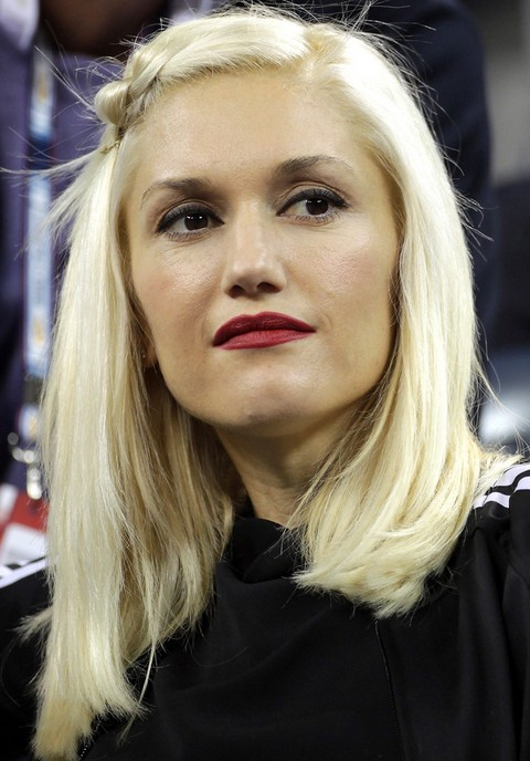 Gwen Stefani Medium Hairstyle: Straight Hair with Knot Bangs