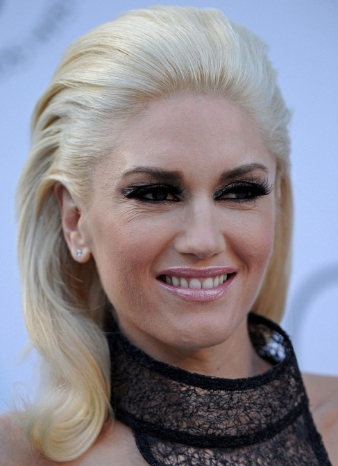 Gwen Stefani Medium Length Hairstyle: Mohawk Bangs