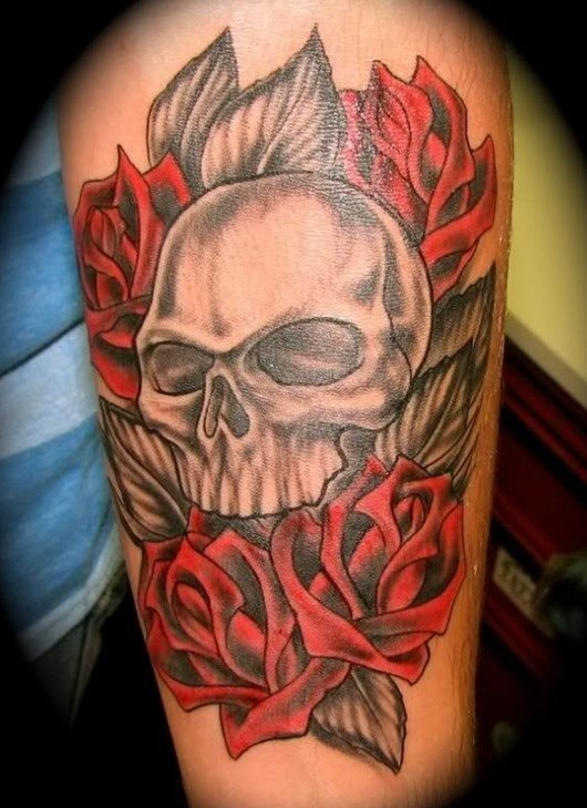 Halloween skull tattoo for girls