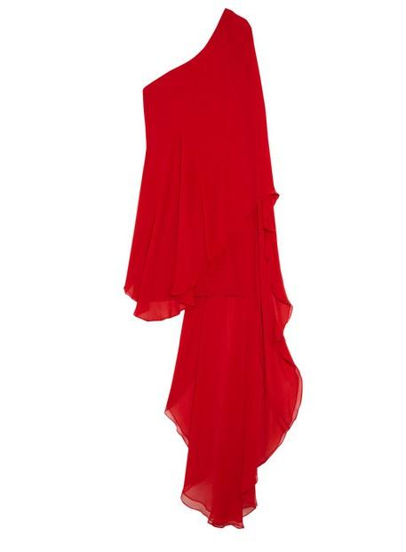 Haney Amy one-shoulder silk-chiffon mini-dress, red, tulle