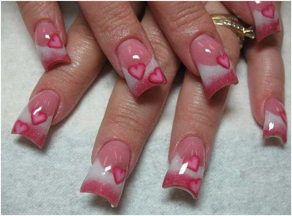 Heart Acrylic Nail Designs