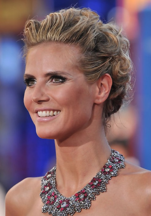 Heidi Klum Long Hairstyle: French Twist with Curly Locks