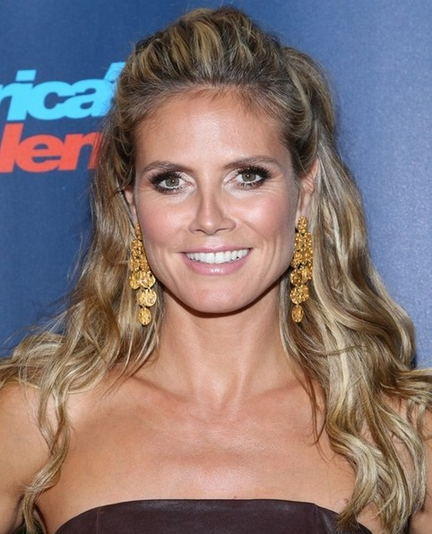 Heidi Klum Long Hairstyle: Half Up Half Down with Mohawk Bangs