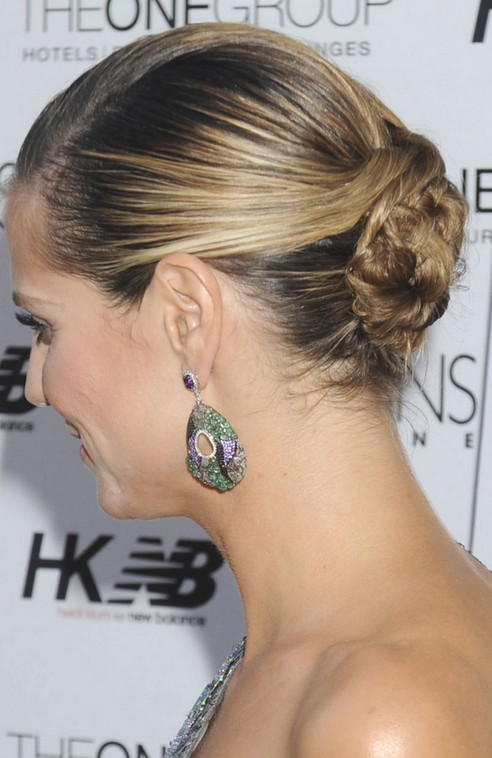 Heidi Klum Long Hairstyle: Low Bun
