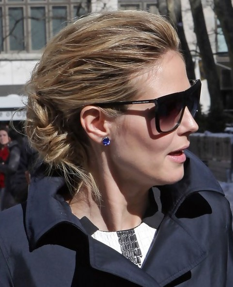 Heidi Klum Long Hairstyle: Messy Updo for Holiday