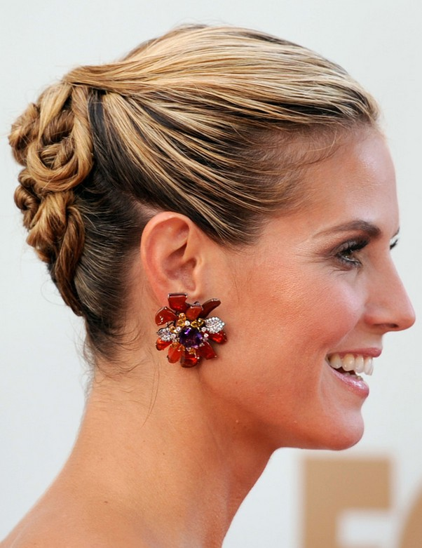 Heidi Klum Long Hairstyle: Twisted Updo