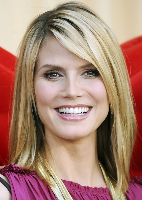 shoulder length haircut with side bangs 28 heidi klum hairstyles heidi klum hair pictures 1375