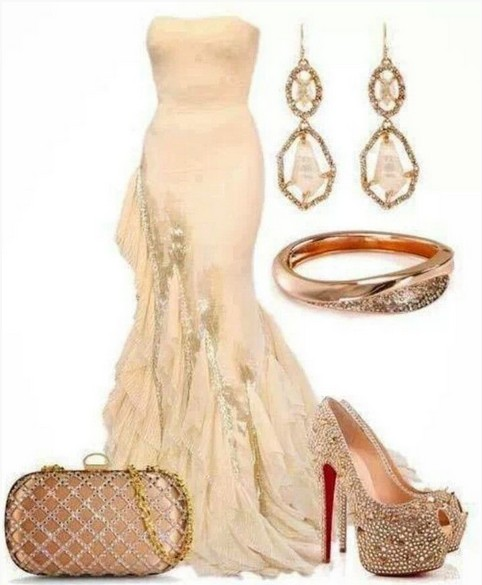 Ivory formal outfit with accessories, long evening dress