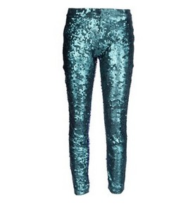 JO NO FUI sequined trousers, metallic green