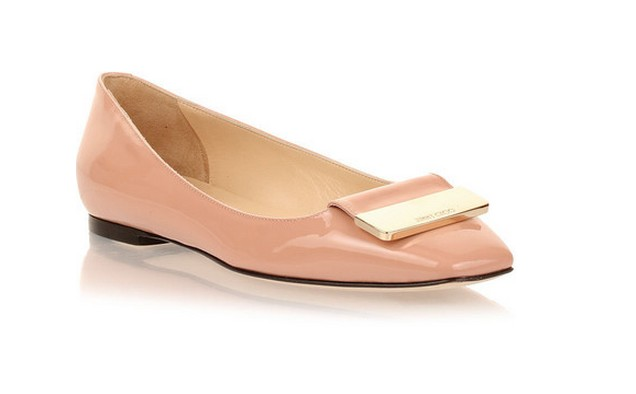 Jimmy Choo Harlow Blush Patent Ballerina Flat, Blush, Leather