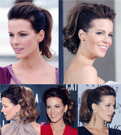 Kate Beckinsale Hairstyles: Voguish Ponytails