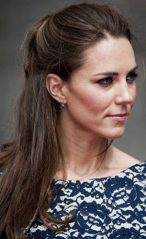 Kate Middleton Hairstyles: Simple Half-up Half-down