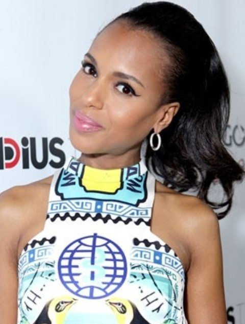 Kerry Washington Hairstyles: Cute Ponytail
