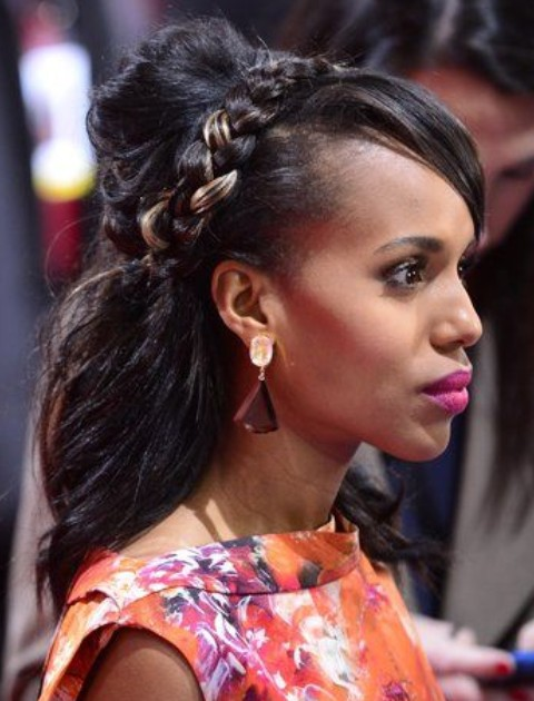 Kerry Washington Hairstyles: Pretty Braided Hairstyle