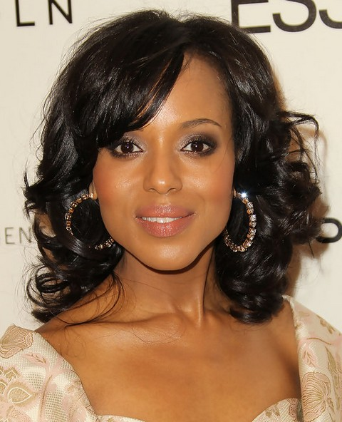 Kerry Washington Hairstyles: Side-parted Medium Curls