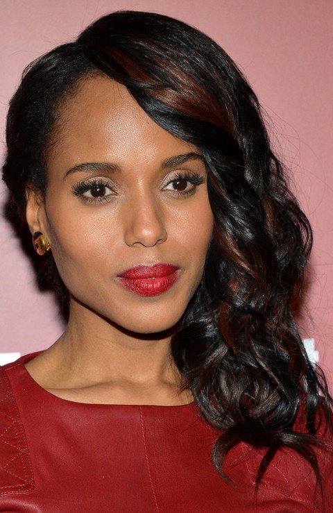 Kerry Washington Hairstyles: Side-swept Curls