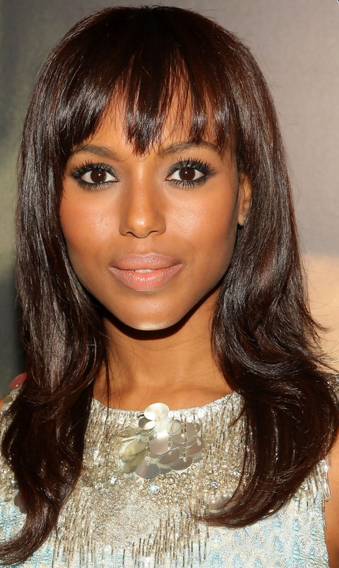 Kerry Washington Hairstyles: Straight Haircut with Bangs