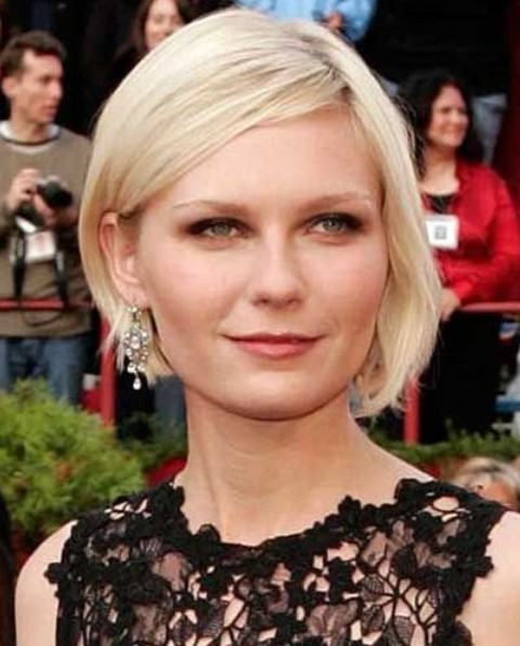 Kirsten Dunst Hairstyles: Side-parted Short Haircut Kirsten Dunst Medium Hair