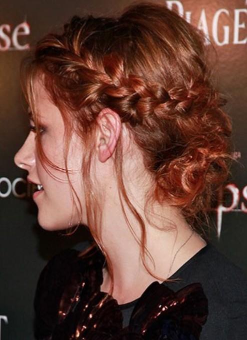 Kristen Stewart Long Hairstyle: Braided Updo
