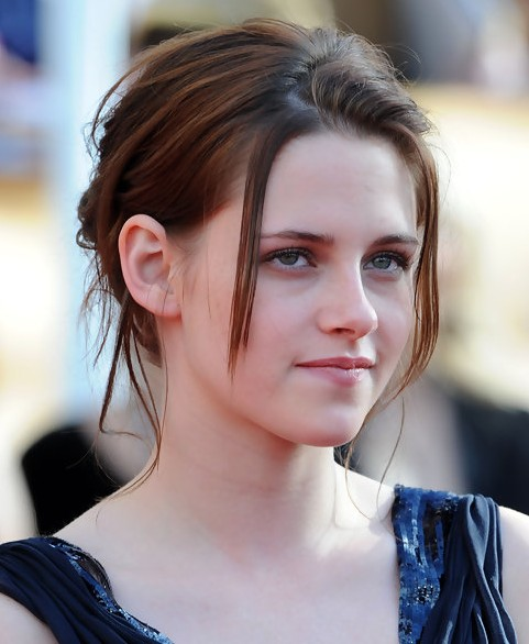 Kristen Stewart Long Hairstyle: Messy Updo with Strands