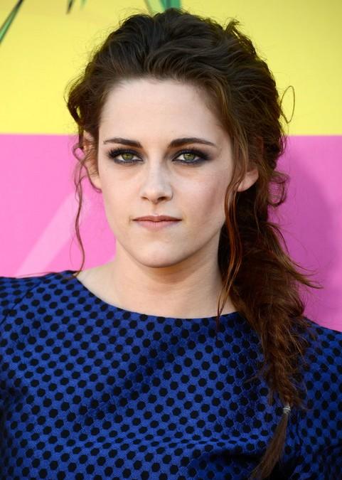 Kristen Stewart Long Hairstyle: Side Braid