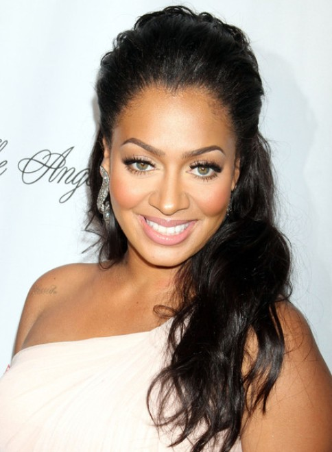 La Anthony Long Hairstyle Half Up Down For Brunette