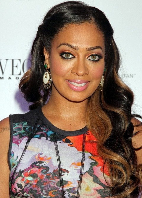 La La Anthony Long Hairstyle: Half Up Half Down with Highlights