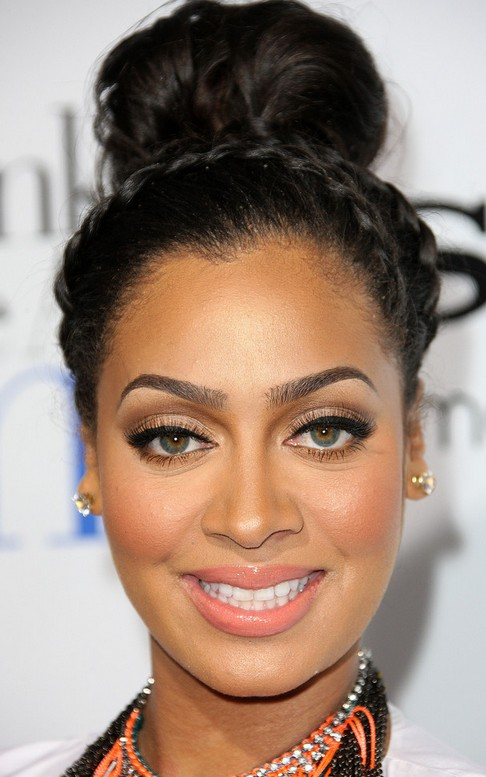 La La Anthony Long Hairstyle: Updo with Braided Bangs