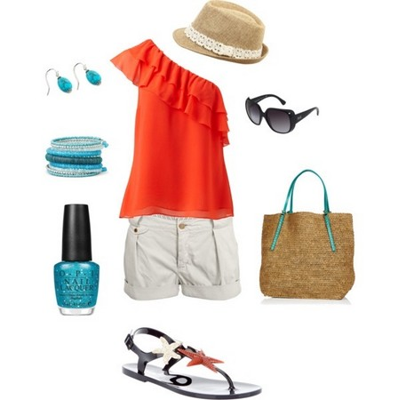 Orange Layered One-shoulder Top Outfit for a Beach Look