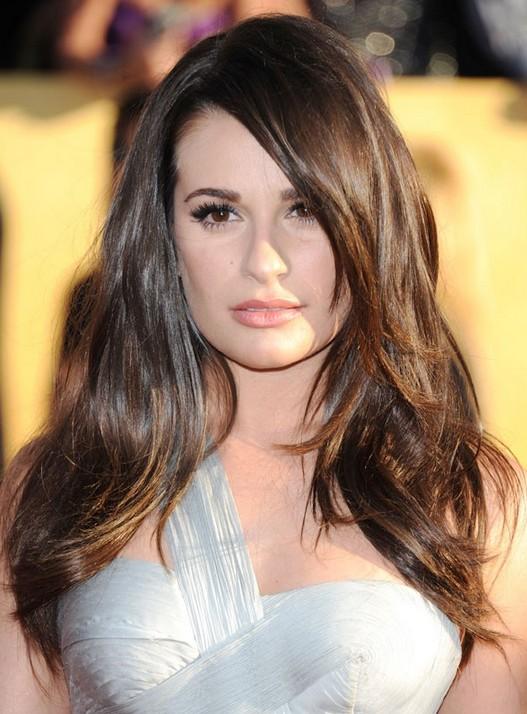 Lea Michele Hairstyles: Brunette Straight Haircut