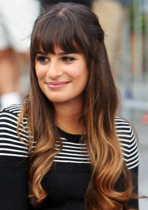 Lea Michele Hairstyles: Cute Half-up Half-down