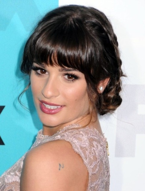 Lea Michele Hairstyles: Pretty Braided Updo