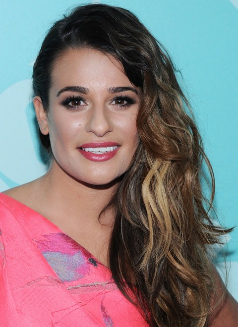 Lea Michele Hairstyles: Side-parted Curls