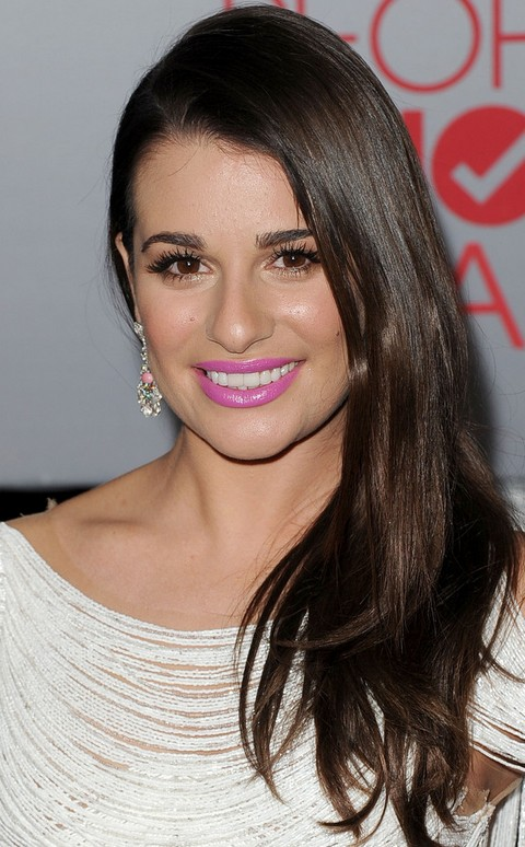 Lea Michele Hairstyles: Side-swept Straight Haircut