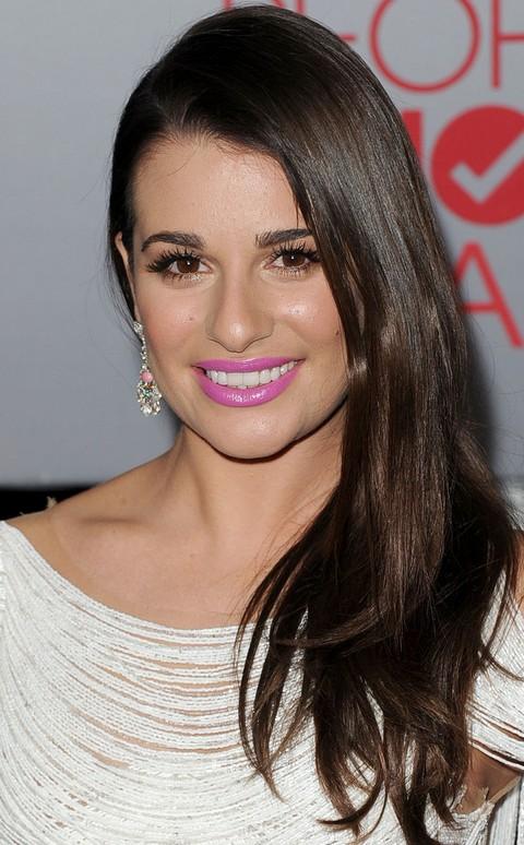 Lea Michele Hairstyles: Side-swept Straight Haircut