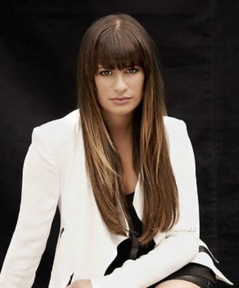 Lea Michele Hairstyles: Straight Haircut with Blunt Bangs