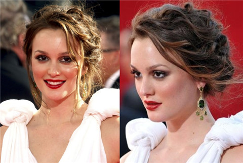Leighton Meester Hairstyles: Braided Messy Updo