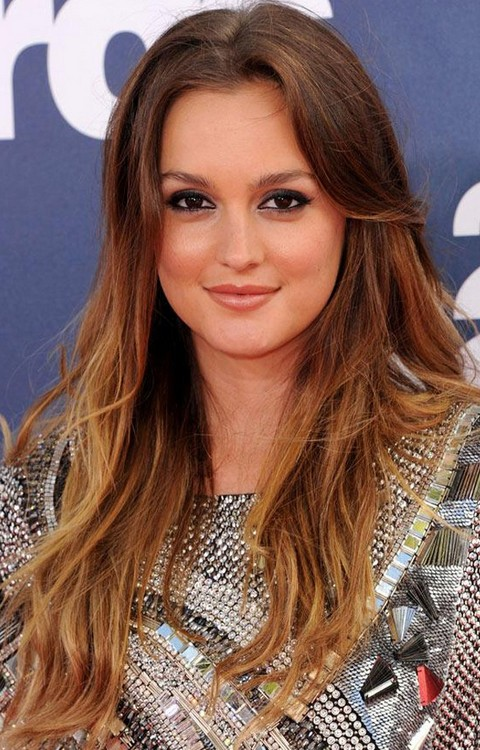 Leighton Meester Hairstyles: Ombre Straight Haircut